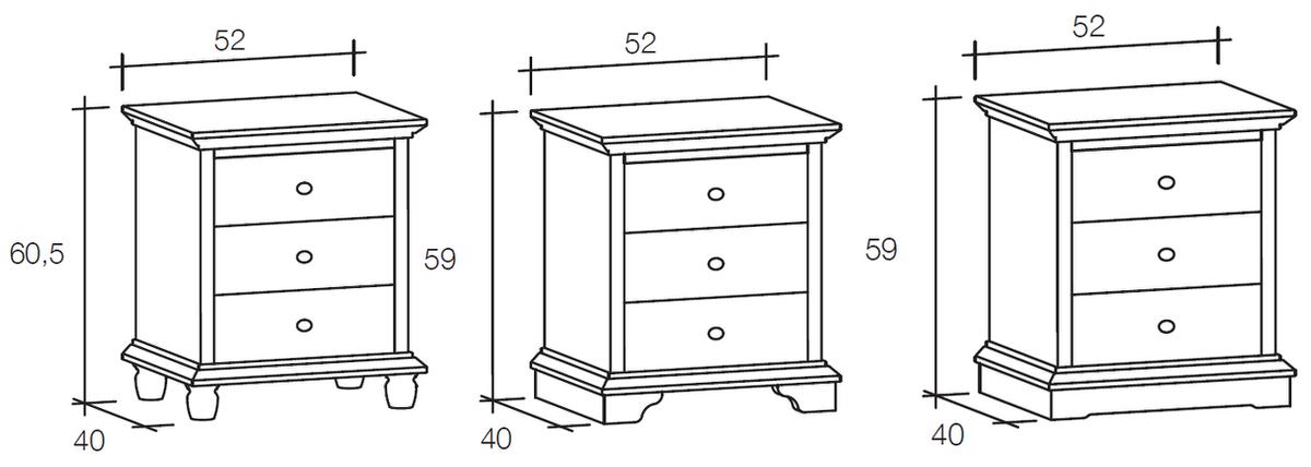Comodino a tre cassetti ariette in vero legno massello - Misure letto rotondo ...