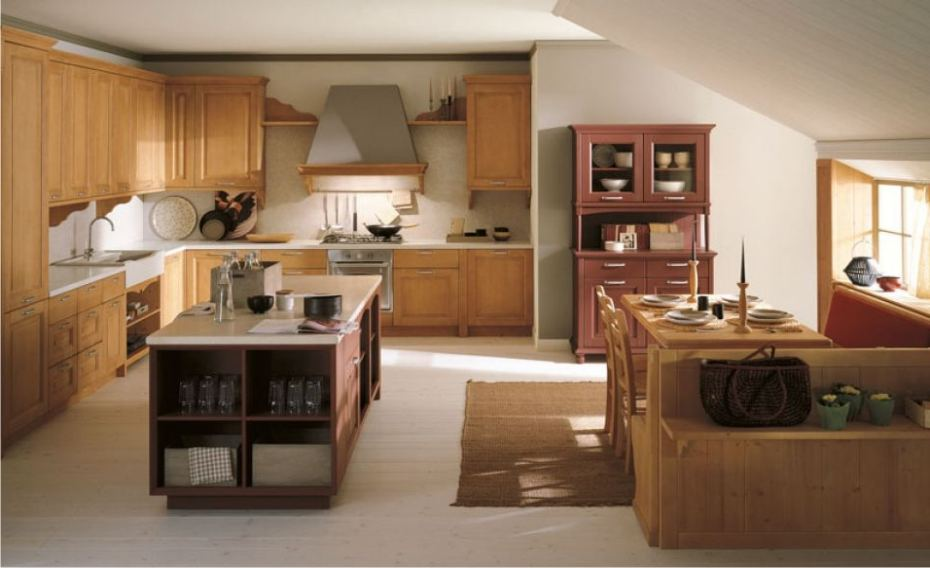 Cucina in stile country ad angolo