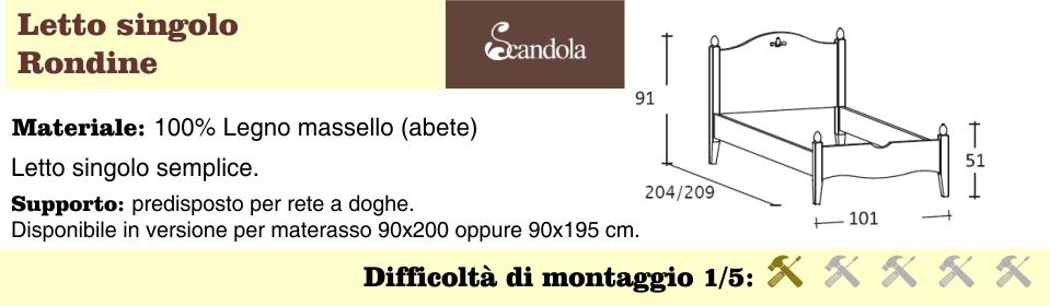 rondine singolo misure