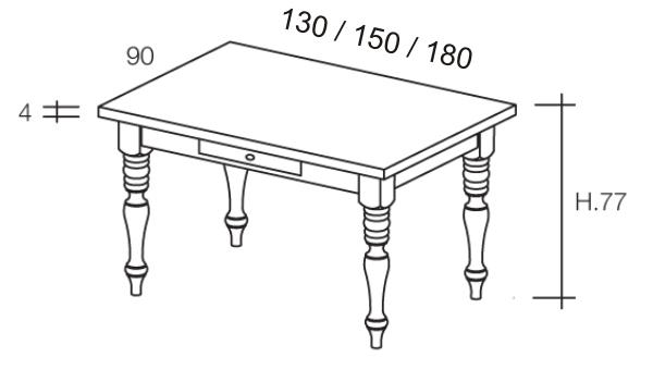 Misure: tavolo con cassetto gambe tornite