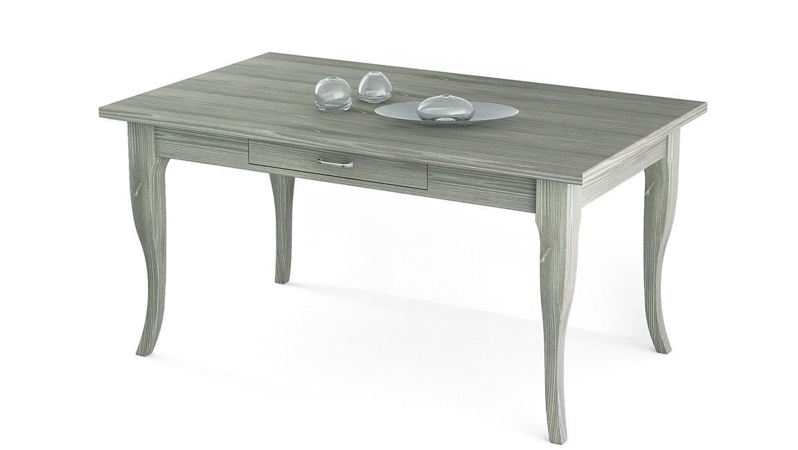 Tavolo con gambe a sciabola e cassetto