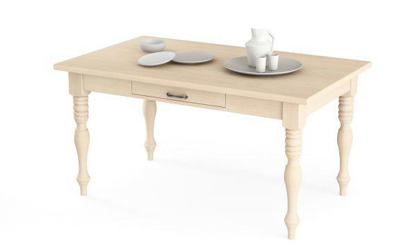 Tavolo con gambe tornite e cassetto