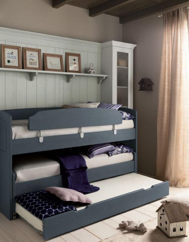 letto mini castello a tre letti in legno scandola