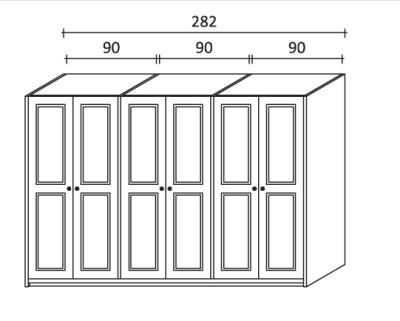 armadio battente in legno a sei ante