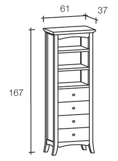 colonna libreria con cassetti e tre ripiani colore bianco