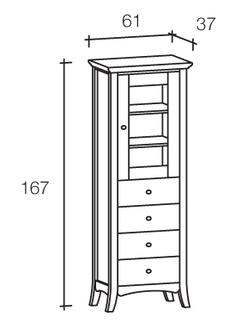 colonna con vetrinetta e quattro cassetti in legno Scandola