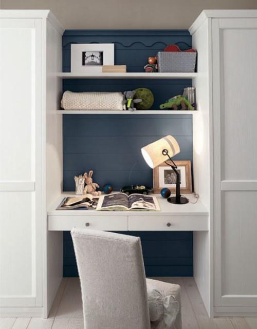 scrivania in nicchia in legno massello bianco