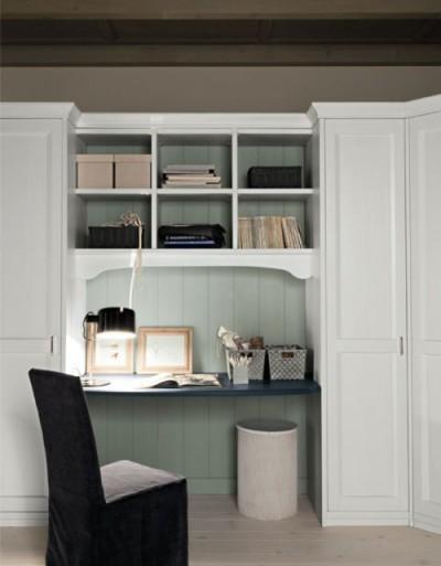 scrivania con libreria a ponte