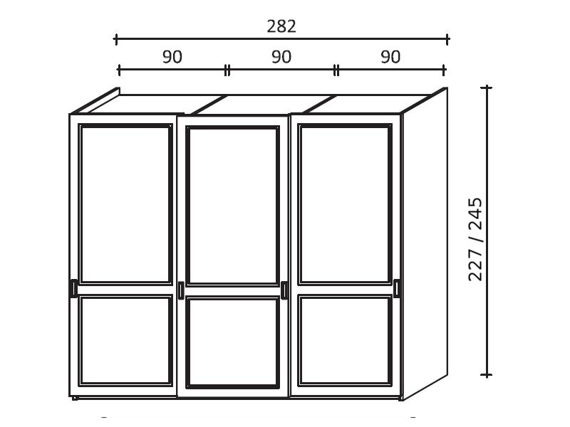 Dimensioni Armadio 3 Ante Scorrevoli.Armadio Scorrevole A Tre Ante In Legno